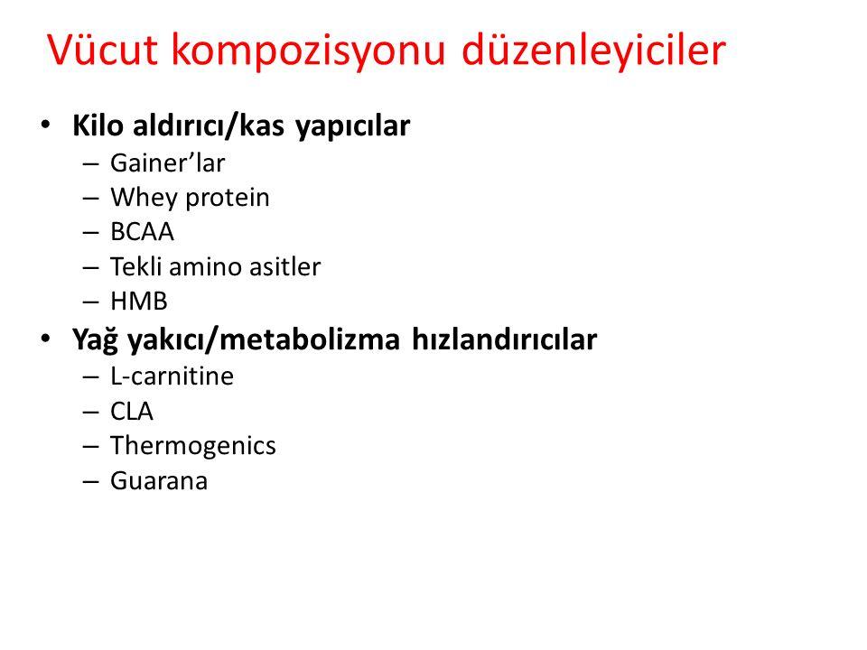 Vücut kompozisyonu düzenleyiciler Kilo aldırıcı/kas yapıcılar – Gainer'lar – Whey protein – BCAA – Tekli amino asitler – HMB Yağ yakıcı/metabolizma hı