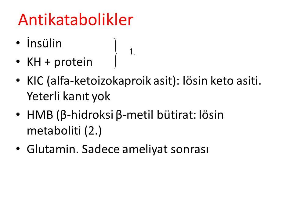 Antikatabolikler İnsülin KH + protein KIC (alfa-ketoizokaproik asit): lösin keto asiti. Yeterli kanıt yok HMB (β-hidroksi β-metil bütirat: lösin metab