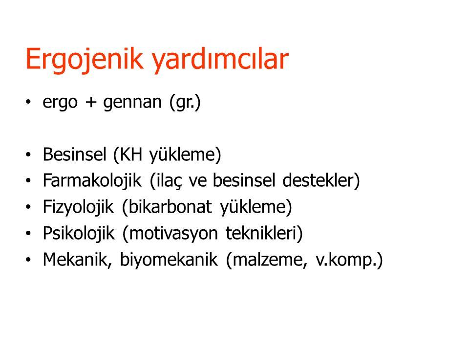 Ergojenik yardımcılar ergo + gennan (gr.) Besinsel (KH yükleme) Farmakolojik (ilaç ve besinsel destekler) Fizyolojik (bikarbonat yükleme) Psikolojik (