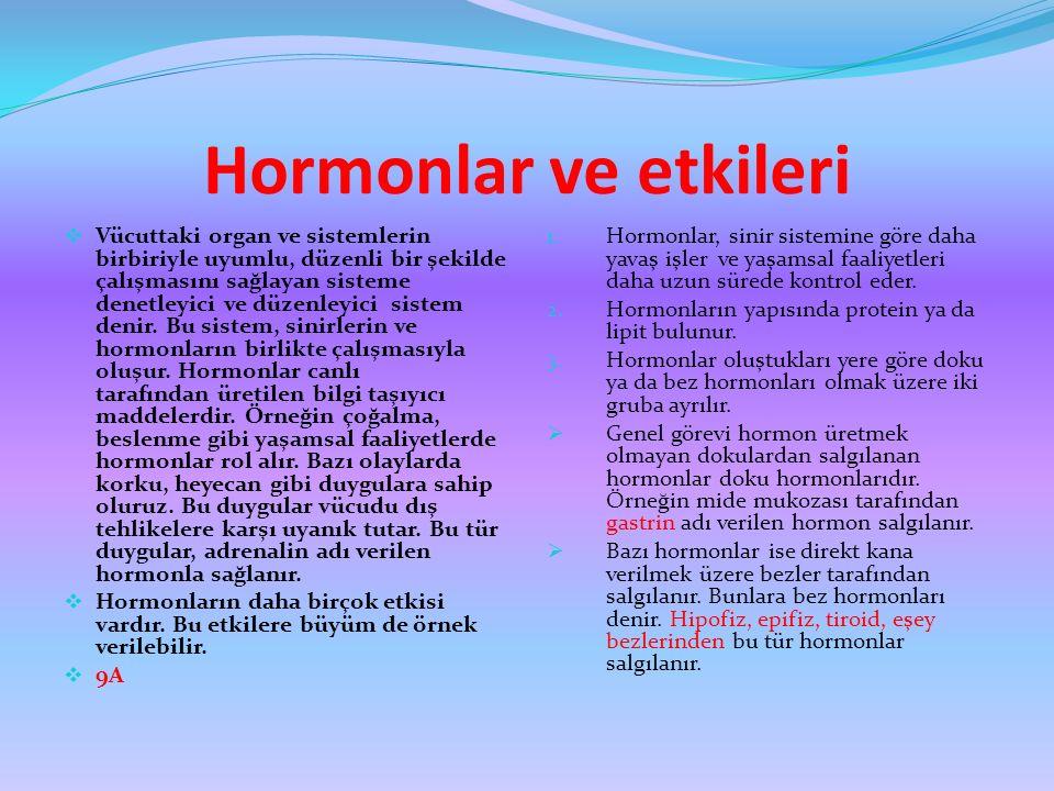 Hormonlar ve etkileri  Vücuttaki organ ve sistemlerin birbiriyle uyumlu, düzenli bir şekilde çalışmasını sağlayan sisteme denetleyici ve düzenleyici