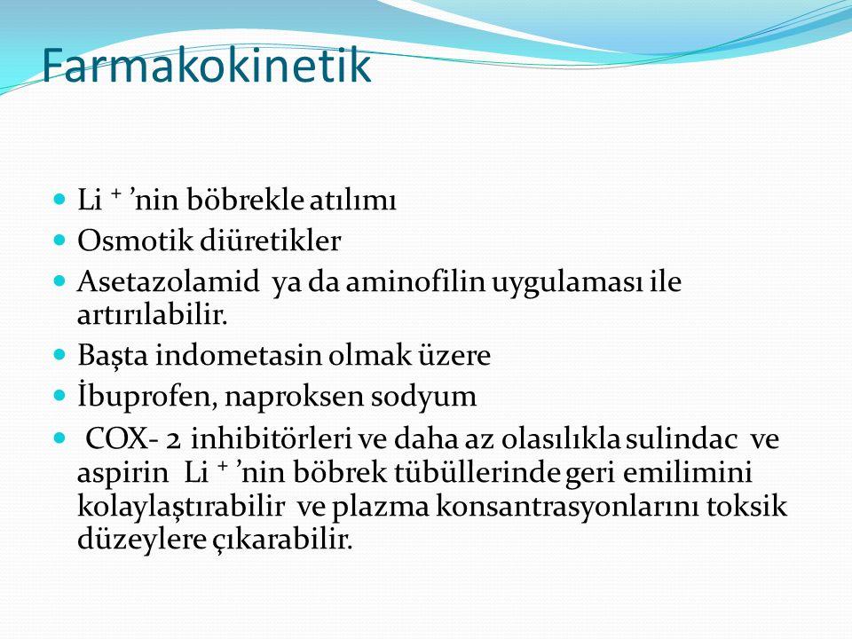 Farmakokinetik Li ⁺ 'nin böbrekle atılımı Osmotik diüretikler Asetazolamid ya da aminofilin uygulaması ile artırılabilir. Başta indometasin olmak üzer