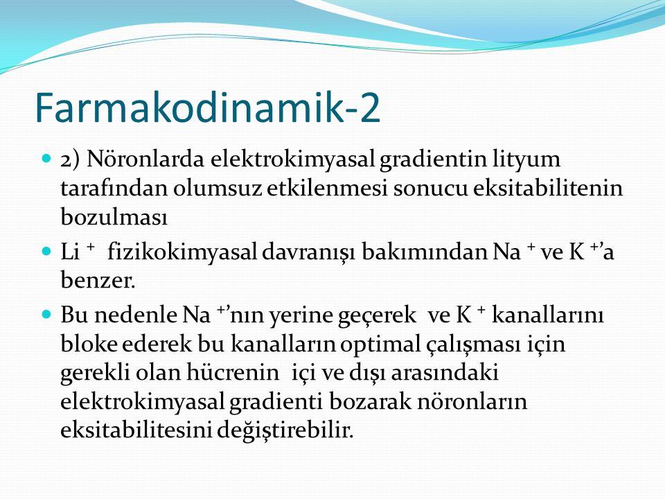 Farmakodinamik-2 2) Nöronlarda elektrokimyasal gradientin lityum tarafından olumsuz etkilenmesi sonucu eksitabilitenin bozulması Li ⁺ fizikokimyasal d
