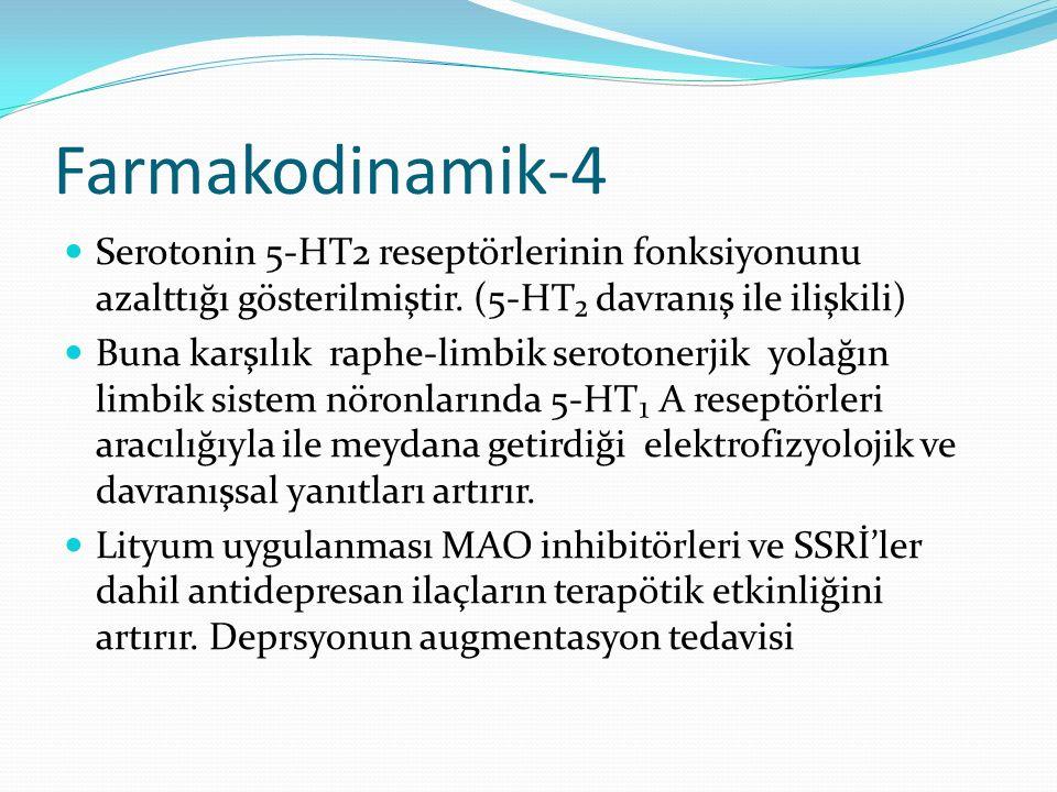 Farmakodinamik-4 Serotonin 5-HT2 reseptörlerinin fonksiyonunu azalttığı gösterilmiştir. (5-HT₂ davranış ile ilişkili) Buna karşılık raphe-limbik serot