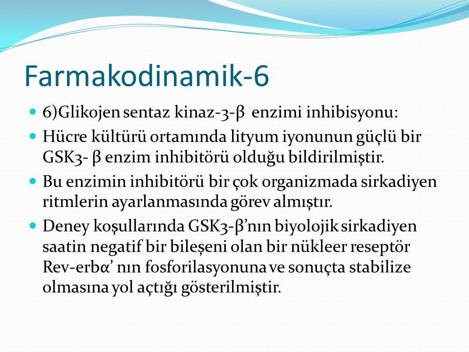 Farmakodinamik-6 6)Glikojen sentaz kinaz-3-β enzimi inhibisyonu: Hücre kültürü ortamında lityum iyonunun güçlü bir GSK3- β enzim inhibitörü olduğu bil