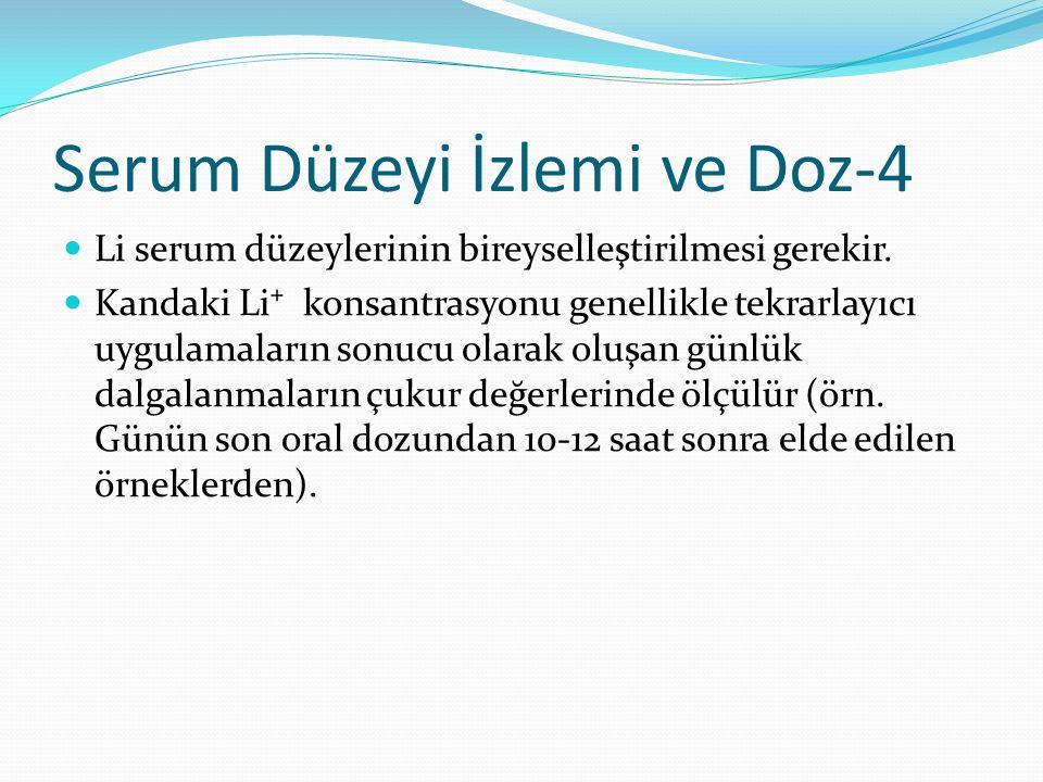Serum Düzeyi İzlemi ve Doz-4 Li serum düzeylerinin bireyselleştirilmesi gerekir. Kandaki Li⁺ konsantrasyonu genellikle tekrarlayıcı uygulamaların sonu