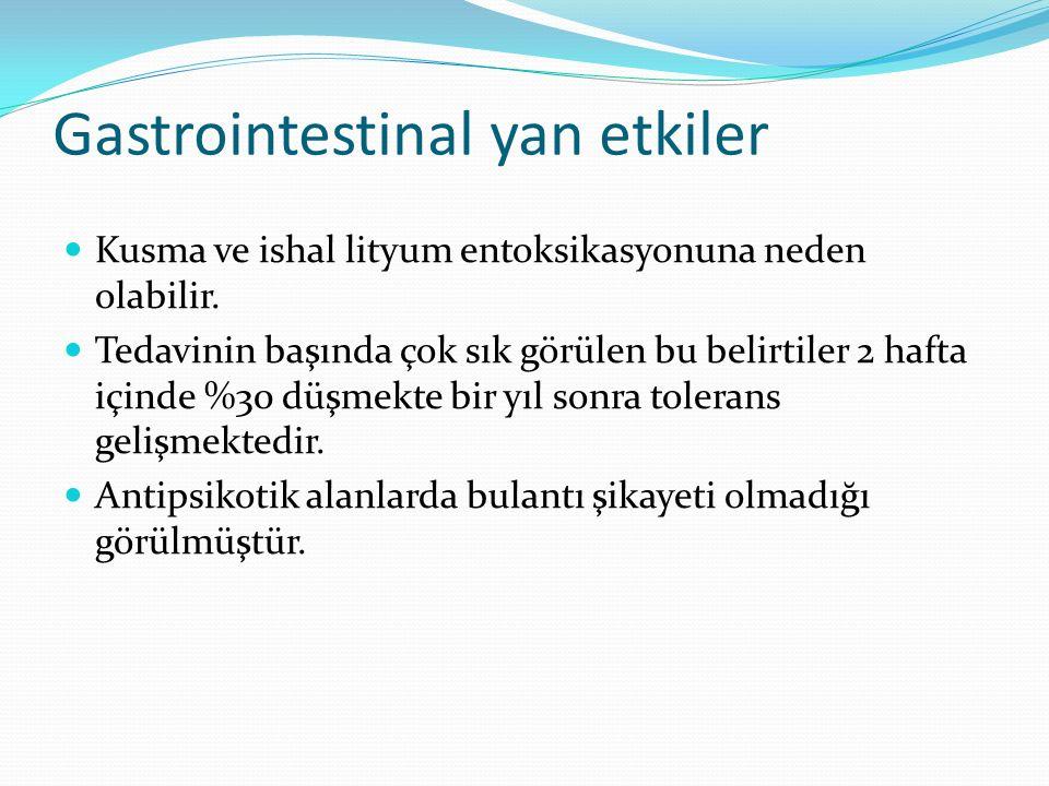 Gastrointestinal yan etkiler Kusma ve ishal lityum entoksikasyonuna neden olabilir.