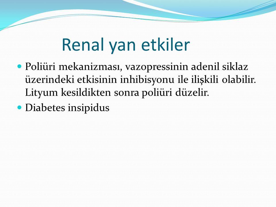 Renal yan etkiler Poliüri mekanizması, vazopressinin adenil siklaz üzerindeki etkisinin inhibisyonu ile ilişkili olabilir. Lityum kesildikten sonra po