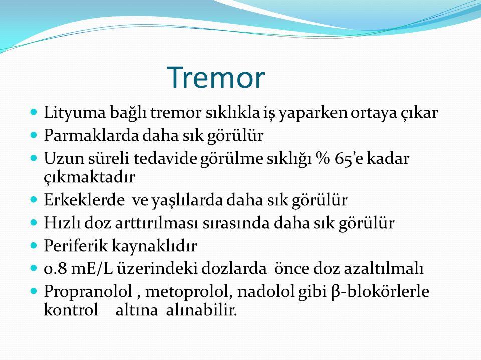 Tremor Lityuma bağlı tremor sıklıkla iş yaparken ortaya çıkar Parmaklarda daha sık görülür Uzun süreli tedavide görülme sıklığı % 65'e kadar çıkmaktadır Erkeklerde ve yaşlılarda daha sık görülür Hızlı doz arttırılması sırasında daha sık görülür Periferik kaynaklıdır 0.8 mE/L üzerindeki dozlarda önce doz azaltılmalı Propranolol, metoprolol, nadolol gibi β-blokörlerle kontrol altına alınabilir.