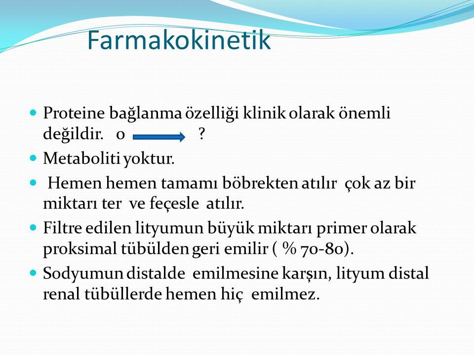 Farmakokinetik Tubulus hücreleri lityuma Na⁺ imiş gibi davranır.
