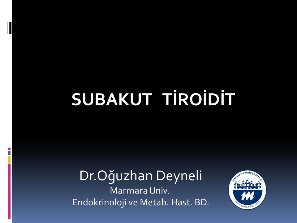 TSH T4 Subakut tiroidit : doğal seyir subakut tirodit,ağrısız postpartum tirodit, ağrısız sporodik tiroditin klinik seyirleri benzerdir 6-8 hafta tirotoksikoz,2-4 ay hafif hipoitirodi, ötiroidi (vakaların %90-95i) Olgular en az 1 fazın bulgularını gösterirler