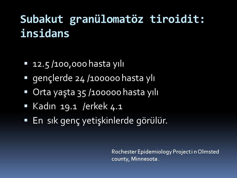 Eritrosit sedimentasyon hızı (>50 mm/h) C-reaktif protein (> 3 mg/dl) T3 ve T4 tüksekliği,TSH düşüklüğü lökositoz Tiroglobülin yüksekliği Otoantikor titresi düşük Tanı kriterleri Ağrılı tiroid bezi Radyoaktif İyot Uptakinde azalma