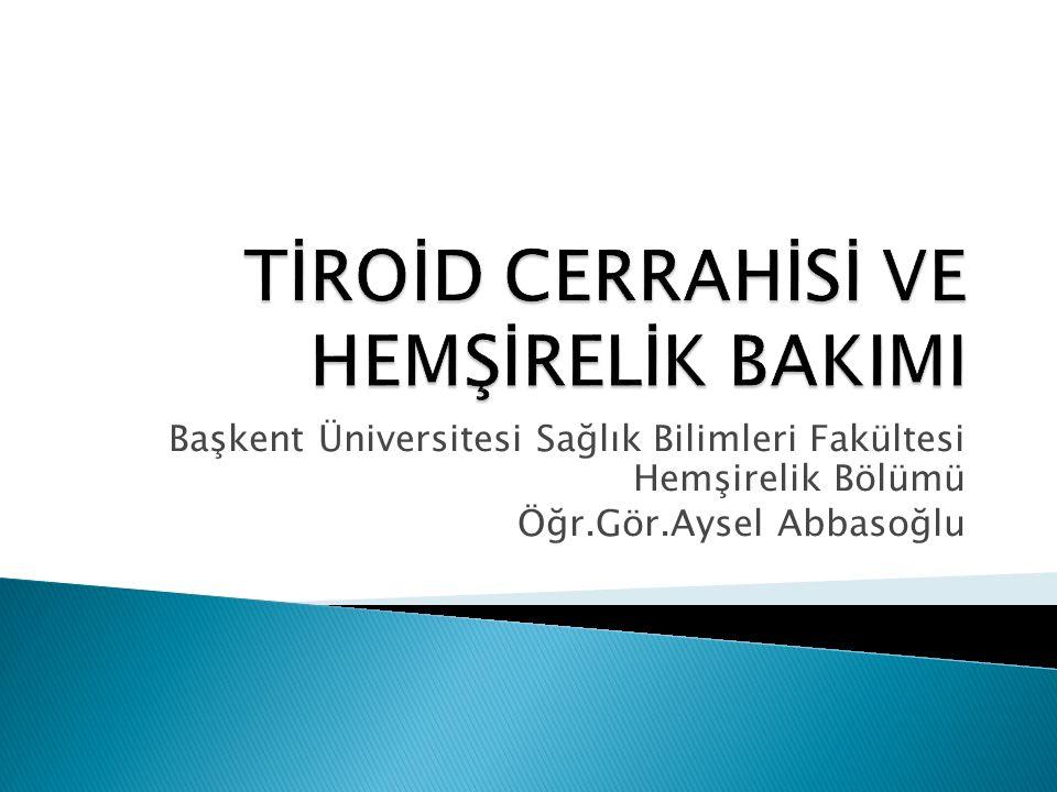 Başkent Üniversitesi Sağlık Bilimleri Fakültesi Hemşirelik Bölümü Öğr.Gör.Aysel Abbasoğlu