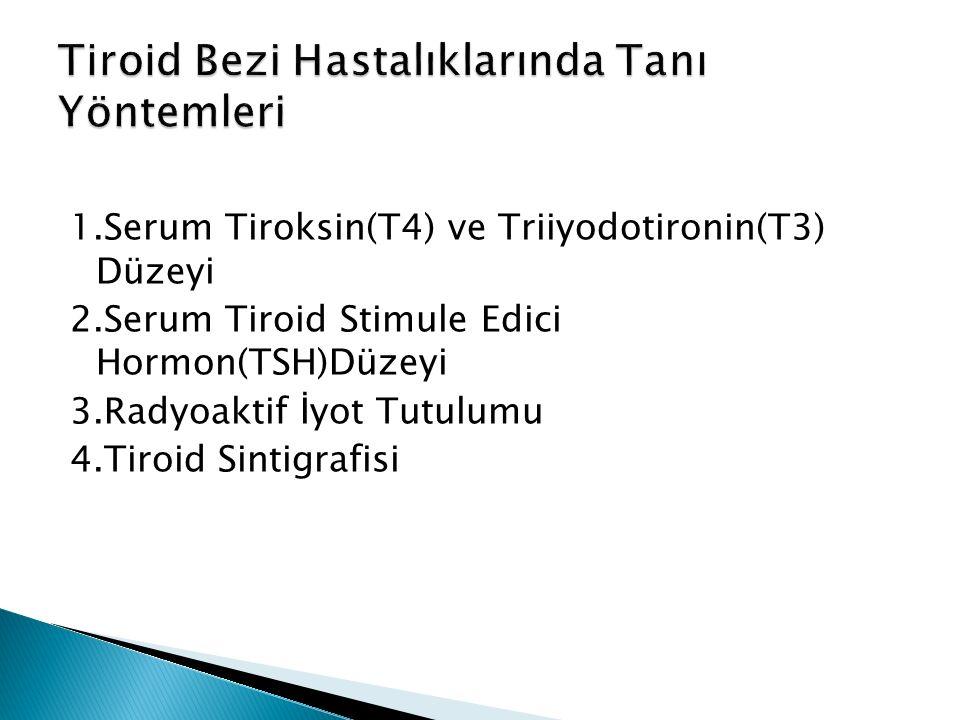1.Serum Tiroksin(T4) ve Triiyodotironin(T3) Düzeyi 2.Serum Tiroid Stimule Edici Hormon(TSH)Düzeyi 3.Radyoaktif İyot Tutulumu 4.Tiroid Sintigrafisi