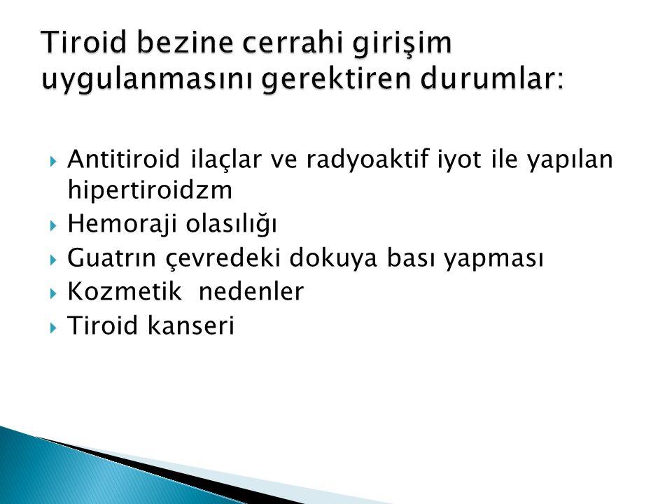  Antitiroid ilaçlar ve radyoaktif iyot ile yapılan hipertiroidzm  Hemoraji olasılığı  Guatrın çevredeki dokuya bası yapması  Kozmetik nedenler  T