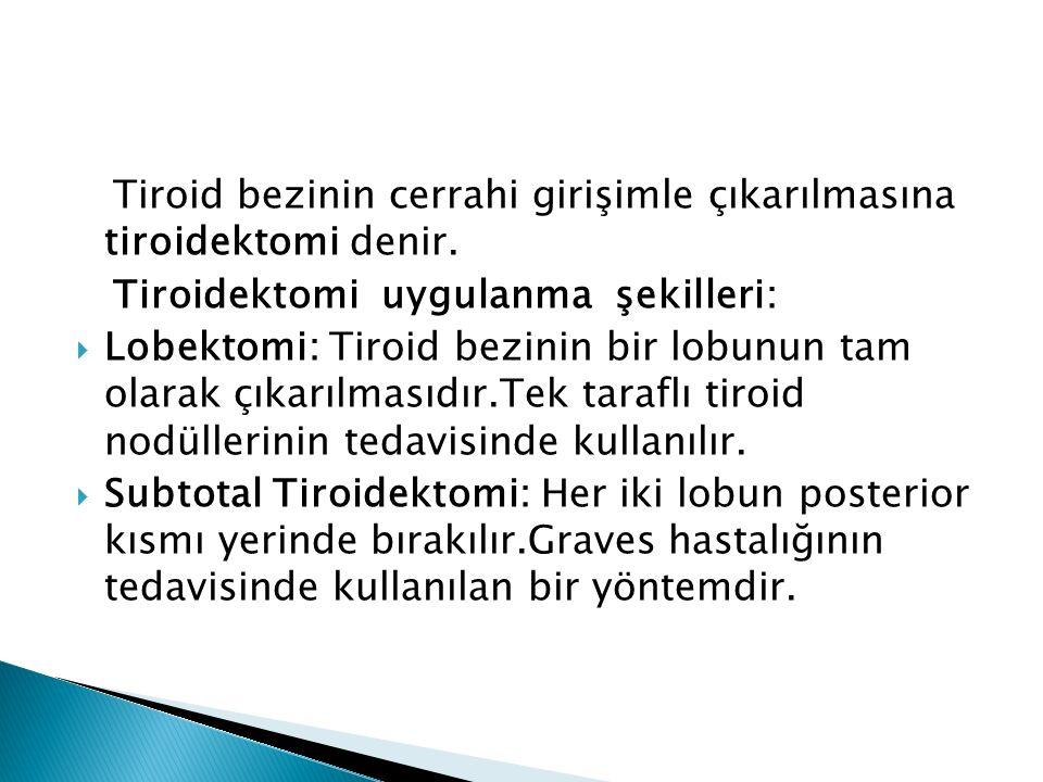 Tiroid bezinin cerrahi girişimle çıkarılmasına tiroidektomi denir. Tiroidektomi uygulanma şekilleri:  Lobektomi: Tiroid bezinin bir lobunun tam olara