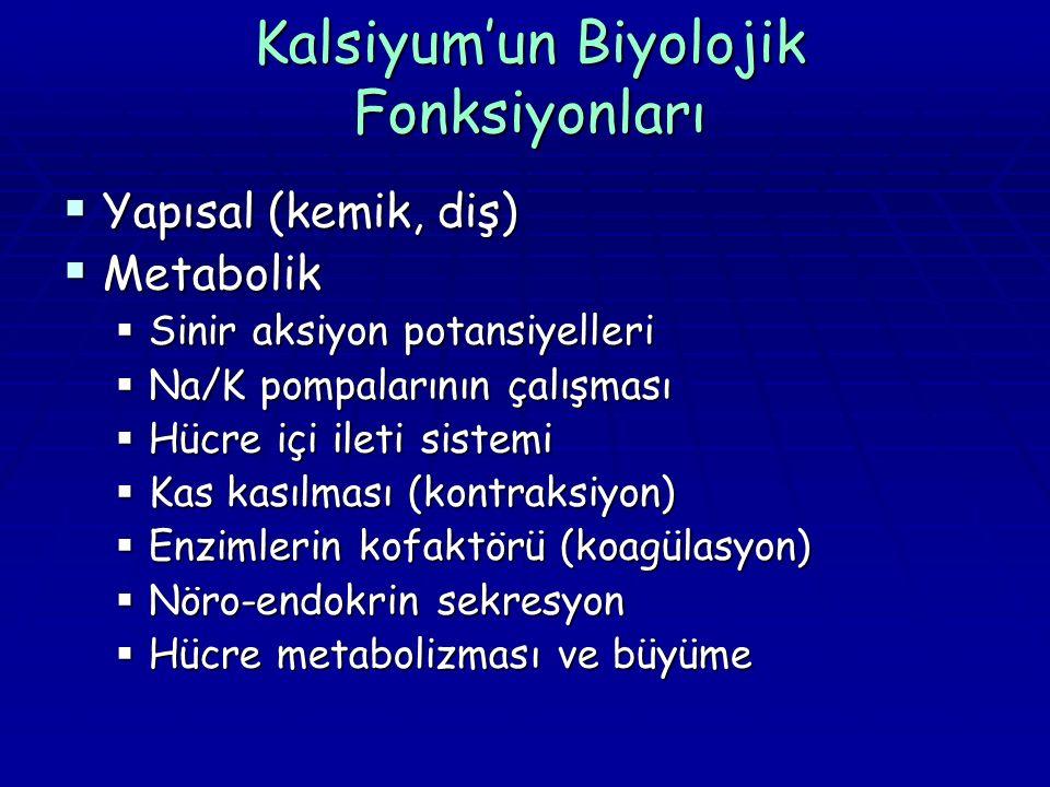 Kalsiyum'un Biyolojik Fonksiyonları  Yapısal (kemik, diş)  Metabolik  Sinir aksiyon potansiyelleri  Na/K pompalarının çalışması  Hücre içi ileti sistemi  Kas kasılması (kontraksiyon)  Enzimlerin kofaktörü (koagülasyon)  Nöro-endokrin sekresyon  Hücre metabolizması ve büyüme