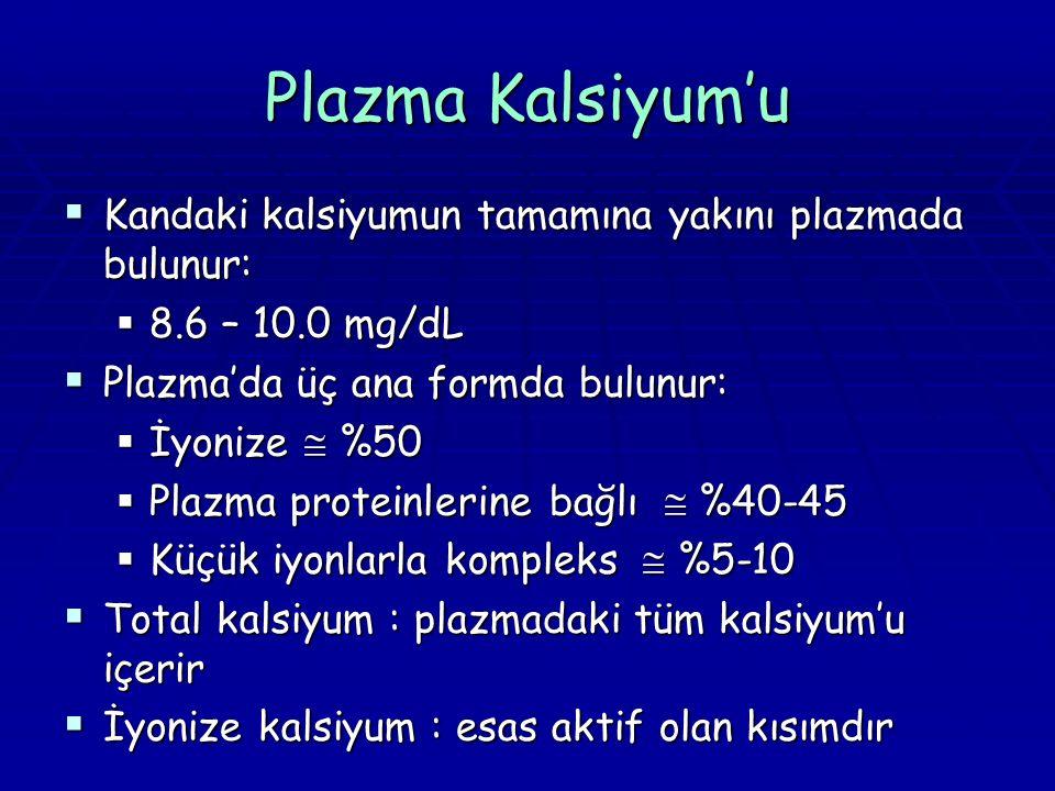 Plazma Kalsiyum'u  Kandaki kalsiyumun tamamına yakını plazmada bulunur:  8.6 – 10.0 mg/dL  Plazma'da üç ana formda bulunur:  İyonize  %50  Plazma proteinlerine bağlı  %40-45  Küçük iyonlarla kompleks  %5-10  Total kalsiyum : plazmadaki tüm kalsiyum'u içerir  İyonize kalsiyum : esas aktif olan kısımdır
