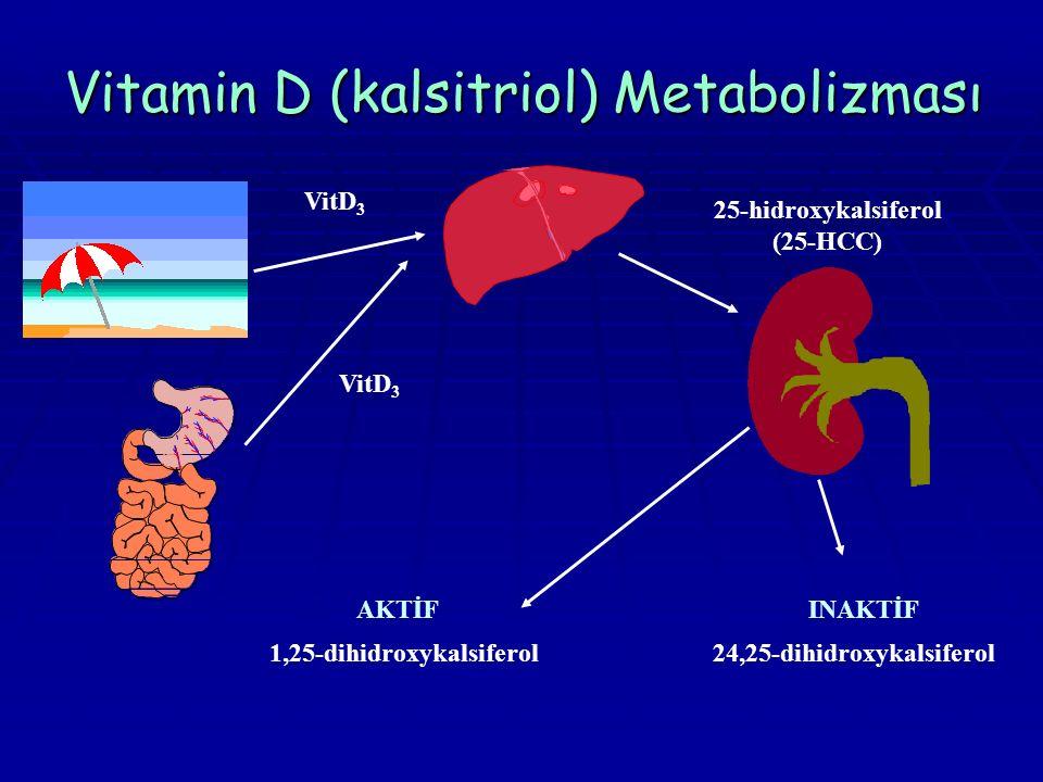 Vitamin D (kalsitriol) Metabolizması 25-hidroxykalsiferol (25-HCC) 1,25-dihidroxykalsiferol VitD 3 24,25-dihidroxykalsiferol AKTİFINAKTİF