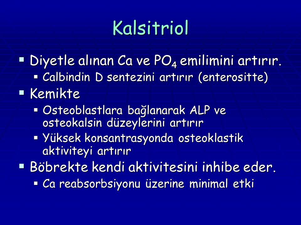 Kalsitriol  Diyetle alınan Ca ve PO 4 emilimini artırır.  Calbindin D sentezini artırır (enterositte)  Kemikte  Osteoblastlara bağlanarak ALP ve o