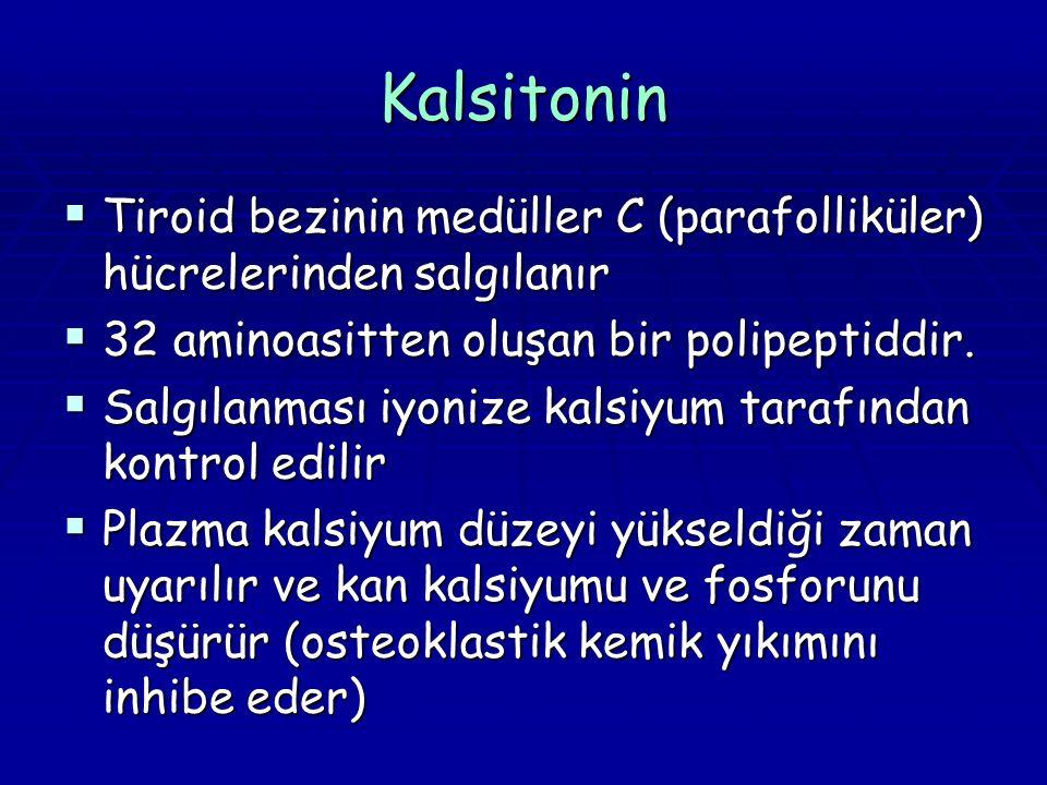 Kalsitonin  Tiroid bezinin medüller C (parafolliküler) hücrelerinden salgılanır  32 aminoasitten oluşan bir polipeptiddir.  Salgılanması iyonize ka