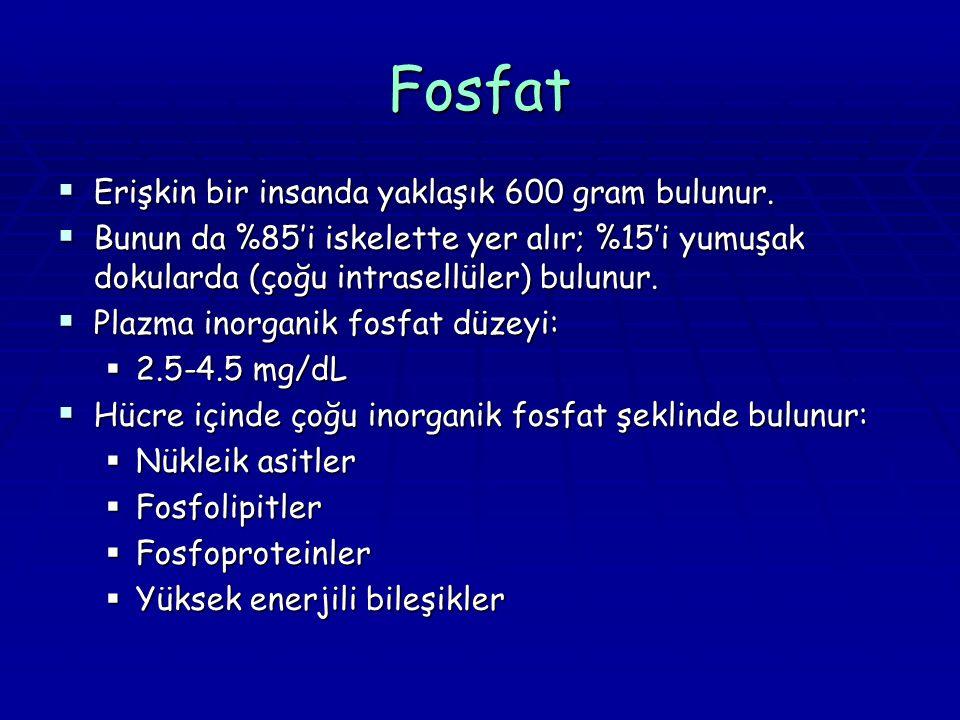 Fosfat  Erişkin bir insanda yaklaşık 600 gram bulunur.  Bunun da %85'i iskelette yer alır; %15'i yumuşak dokularda (çoğu intrasellüler) bulunur.  P