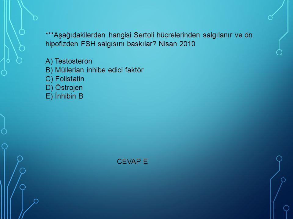 ***Aşağıdakilerden hangisi Sertoli hücrelerinden salgılanır ve ön hipofizden FSH salgısını baskılar? Nisan 2010 A) Testosteron B) Müllerian inhibe edi