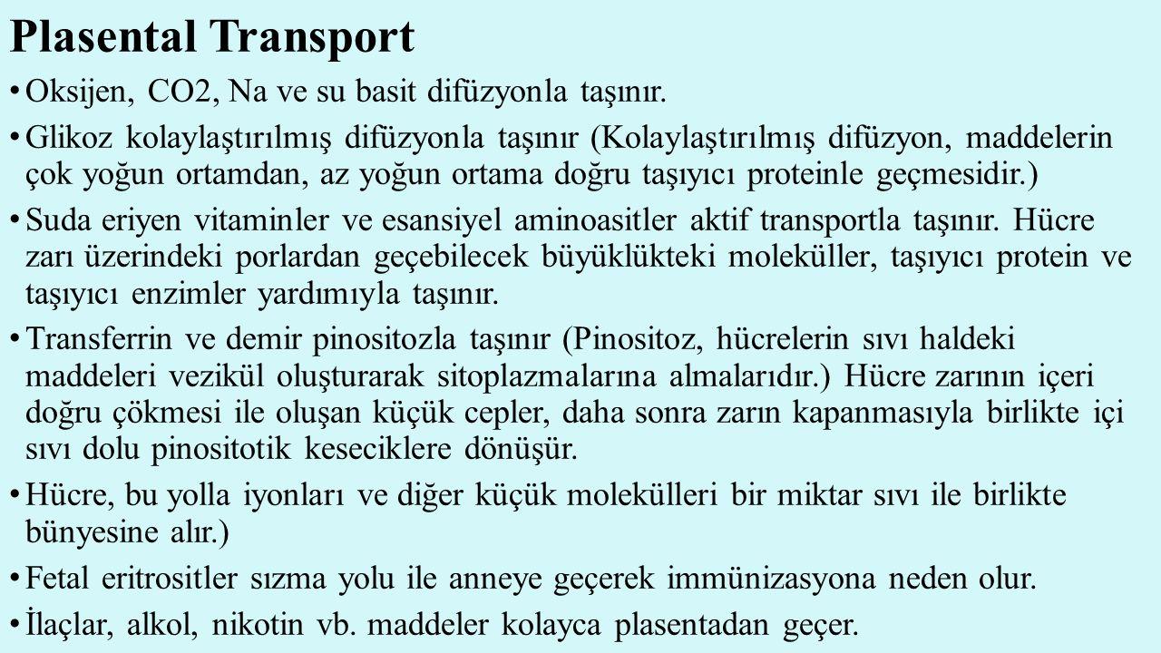 Plasental Transport Oksijen, CO2, Na ve su basit difüzyonla taşınır. Glikoz kolaylaştırılmış difüzyonla taşınır (Kolaylaştırılmış difüzyon, maddelerin