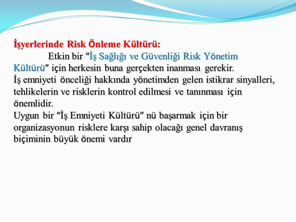 İşyerlerinde Risk Ö nleme K ü lt ü r ü : Etkin bir İş Sağlığı ve G ü venliği Risk Y ö netim K ü lt ü r ü i ç in herkesin buna ger ç ekten inanması gerekir.