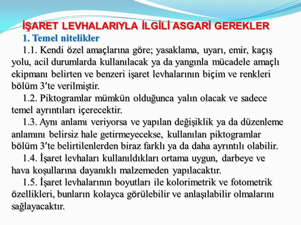 İŞARET LEVHALARIYLA İLGİLİ ASGARİ GEREKLER 1. Temel nitelikler 1.1.