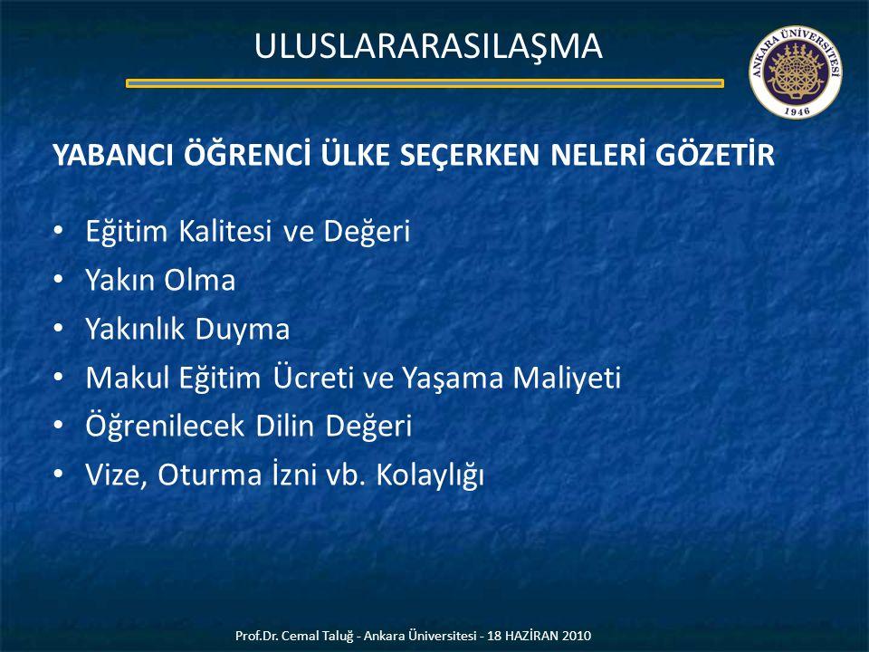 Prof.Dr. Cemal Taluğ - Ankara Üniversitesi - 18 HAZİRAN 2010 ULUSLARARASILAŞMA YABANCI ÖĞRENCİ ÜLKE SEÇERKEN NELERİ GÖZETİR Eğitim Kalitesi ve Değeri