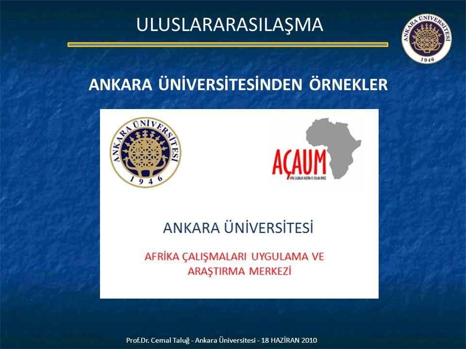 ANKARA ÜNİVERSİTESİNDEN ÖRNEKLER Prof.Dr. Cemal Taluğ - Ankara Üniversitesi - 18 HAZİRAN 2010 ULUSLARARASILAŞMA
