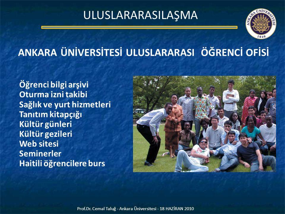 Prof.Dr. Cemal Taluğ - Ankara Üniversitesi - 18 HAZİRAN 2010 ULUSLARARASILAŞMA ANKARA ÜNİVERSİTESİ ULUSLARARASI ÖĞRENCİ OFİSİ Öğrenci bilgi arşivi Otu