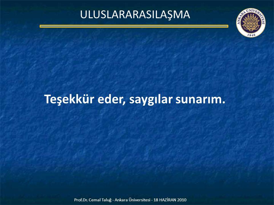 Teşekkür eder, saygılar sunarım. Prof.Dr. Cemal Taluğ - Ankara Üniversitesi - 18 HAZİRAN 2010 ULUSLARARASILAŞMA
