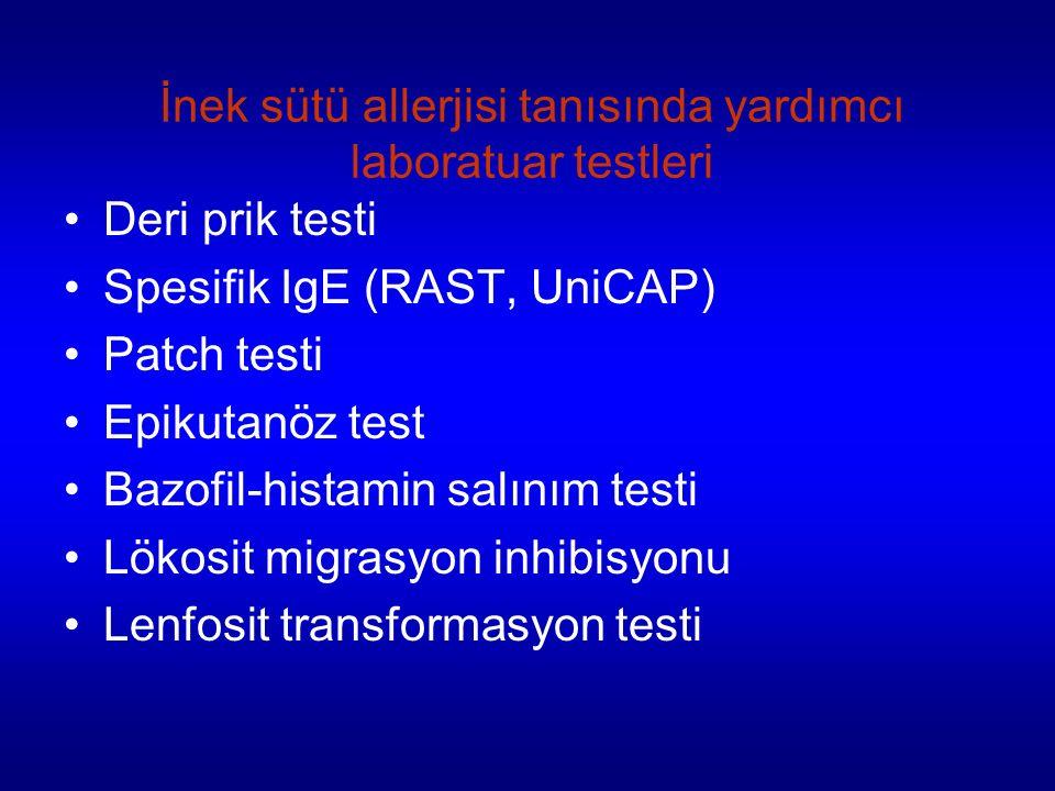 İnek sütü allerjisi tanısında yardımcı laboratuar testleri Deri prik testi Spesifik IgE (RAST, UniCAP) Patch testi Epikutanöz test Bazofil-histamin salınım testi Lökosit migrasyon inhibisyonu Lenfosit transformasyon testi