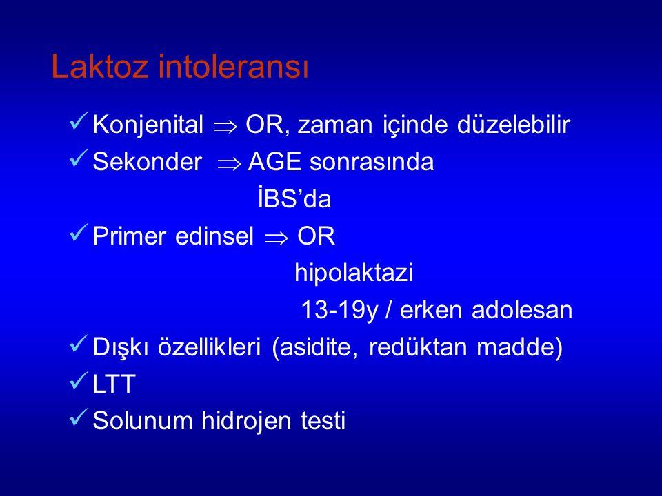 Laktoz intoleransı Konjenital  OR, zaman içinde düzelebilir Sekonder  AGE sonrasında İBS'da Primer edinsel  OR hipolaktazi 13-19y / erken adolesan Dışkı özellikleri (asidite, redüktan madde) LTT Solunum hidrojen testi