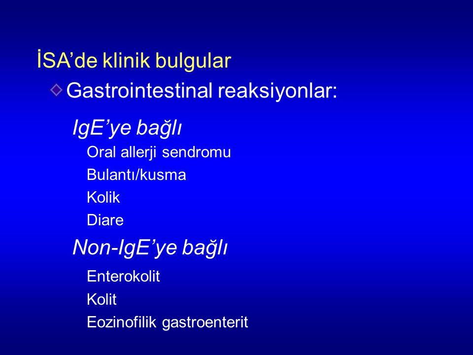 İSA'de klinik bulgular Gastrointestinal reaksiyonlar: IgE'ye bağlı Oral allerji sendromu Bulantı/kusma Kolik Diare Non-IgE'ye bağlı Enterokolit Kolit Eozinofilik gastroenterit