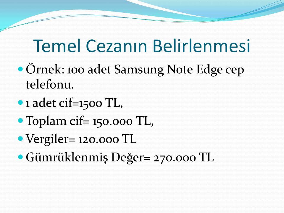 Temel Cezanın Belirlenmesi Örnek: 100 adet Samsung Note Edge cep telefonu.