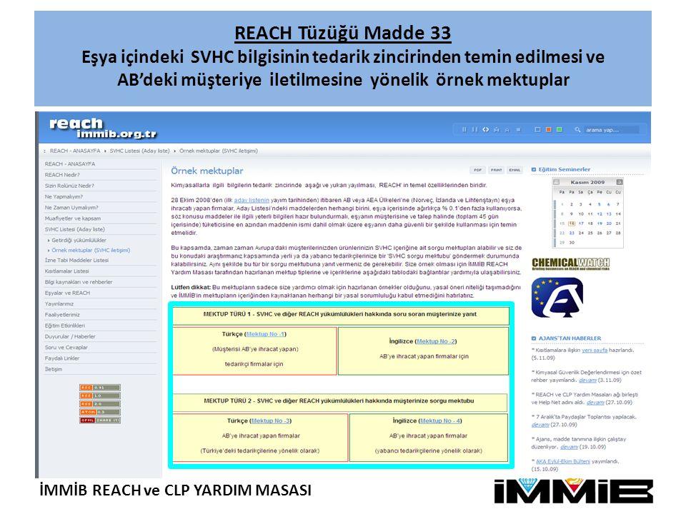 REACH Tüzüğü Madde 33 Eşya içindeki SVHC bilgisinin tedarik zincirinden temin edilmesi ve AB'deki müşteriye iletilmesine yönelik örnek mektuplar