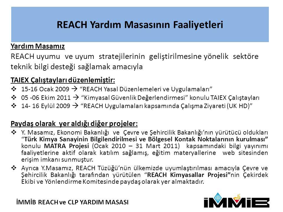 REACH Yardım Masasının Faaliyetleri Yardım Masamız REACH uyumu ve uyum stratejilerinin geliştirilmesine yönelik sektöre teknik bilgi desteği sağlamak amacıyla TAIEX Çalıştayları düzenlemiştir:  15-16 Ocak 2009  REACH Yasal Düzenlemeleri ve Uygulamaları  05 -06 Ekim 2011  Kimyasal Güvenlik Değerlendirmesi konulu TAIEX Çalıştayları  14- 16 Eylül 2009  REACH Uygulamaları kapsamında Çalışma Ziyareti (UK HD) Paydaş olarak yer aldığı diğer projeler:  Y.