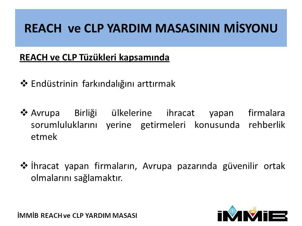 İMMİB REACH ve CLP YARDIM MASASI REACH Yardım Masasının Faaliyetleri REACH Yardım Masası, farkındalık artırma çalışmaları kapsamında:  Ön-kayıt döneminden önce İstanbul (14/02/2008) ve Ankara'da (13/03/2008) REACH Tüzüğü'nün Türk Kimya Endüstrisine Etkileri konulu iki sempozyum organize etmiş, ön-kayıt ve kayıt konusunda firmaları bilgilendirmek ve yardım masamıza yönlendirmek amacıyla REACH Anketi düzenlemiştir  Ön-kayıt döneminde (1Haziran2008 - 1 Aralık 2008) Ulusal Gazete ilanları verilmiş, REACH Eki yayımlanmış, yardım masamızın faaliyetlerini kapsayan haberlerin yazılı ve görsel basında yer alması sağlanmıştır.