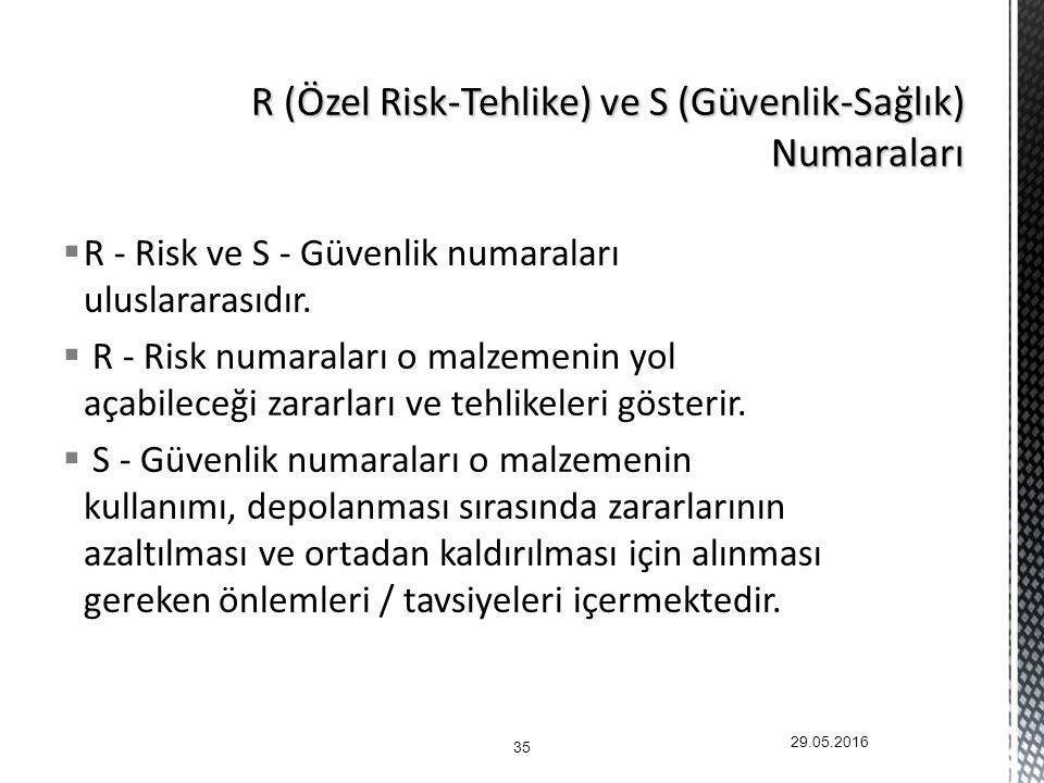  R - Risk ve S - Güvenlik numaraları uluslararasıdır.
