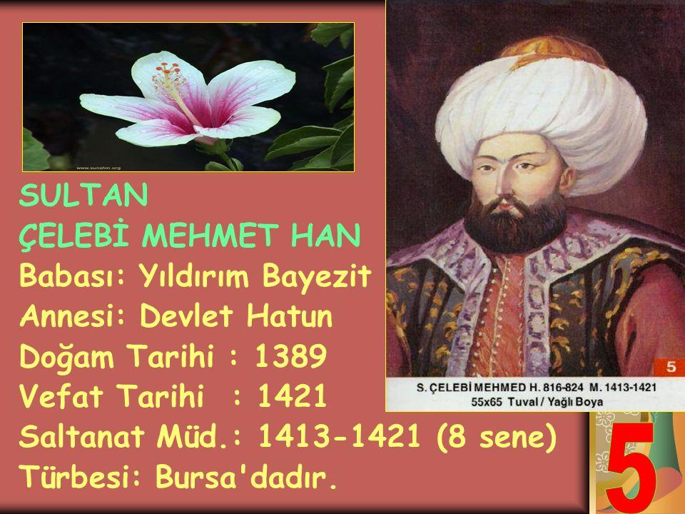 SULTAN YILDIRIM BAYEZİT HAN Babası: Sultan 1.Murat Annesi: Gülçiçek Hatun Doğum Tarihi : 1360 Vefat Tarihi : 1403 Saltanat Müd.: 1389-1402 (13 sene) T