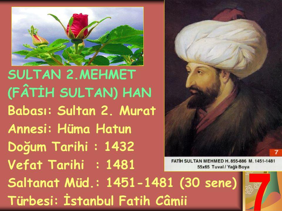 SULTAN 2.MURAT HAN Babası: Çelebi Mehmet Annesi: Emine Hatun Doğum Tarihi : 1402 Vefat Tarihi : 1451 Saltanat Müd.: 1421-1451 (30 sene) Türbesi: Bursa