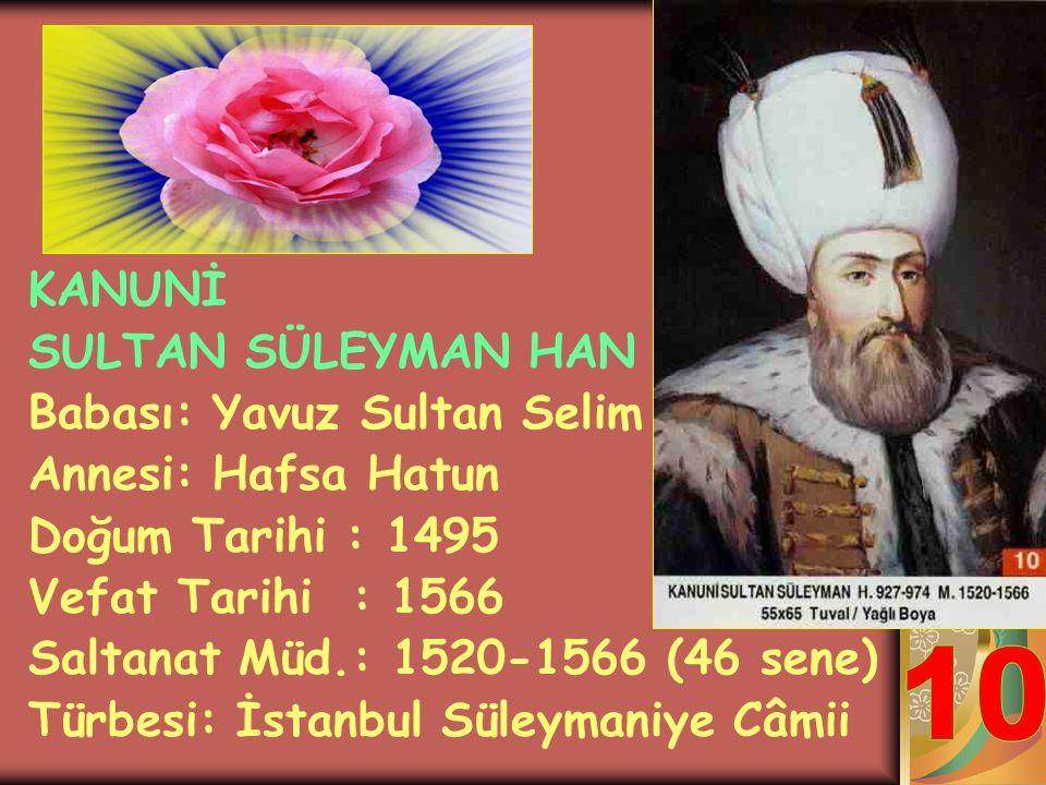 YAVUZ SULTAN SELİM HAN Babası: Sultan 2.Bayezit Annesi: Gülbahar Hatun Doğum Tarihi : 1470 Vefat Tarihi : 1520 Saltanat Müd.: 1512-1520 (8 sene) Türbe