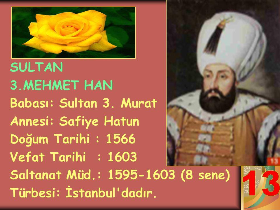 SULTAN 3.MURAT HAN Babası: Sultan 2.Selim Annesi: Afife Nur-Bânu Sultan Doğum Tarihi : 1549 Vefat Tarihi : 1595 Saltanat Müd.: 1574-1595 (21 sene) Tür