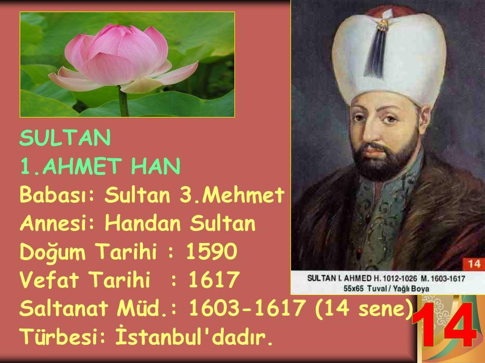 SULTAN 3.MEHMET HAN Babası: Sultan 3. Murat Annesi: Safiye Hatun Doğum Tarihi : 1566 Vefat Tarihi : 1603 Saltanat Müd.: 1595-1603 (8 sene) Türbesi: İs
