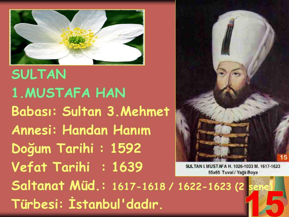 SULTAN 1.AHMET HAN Babası: Sultan 3.Mehmet Annesi: Handan Sultan Doğum Tarihi : 1590 Vefat Tarihi : 1617 Saltanat Müd.: 1603-1617 (14 sene) Türbesi: İ