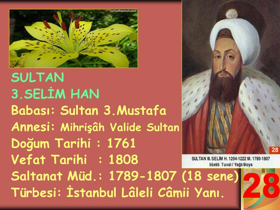 SULTAN 1.ABDULHAMİT HAN Babası: Sultan 3.Ahmet Annesi: Râbia Şermî Sultan Doğum Tarihi : 1725 Vefat Tarihi : 1789 Saltanat Müd.: 1774-1789 (15 sene) T