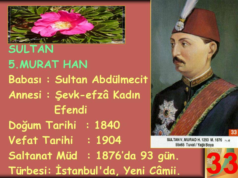 SULTAN ABDÜLAZİZ HAN Babası: Sultan 2.Mahmut Annesi: Pertevniyâl Vâlide Sultan Doğum Tarihi : 1830 Vefat Tarihi : 1876 Saltanat Müd.: 1861-1876 (15 se
