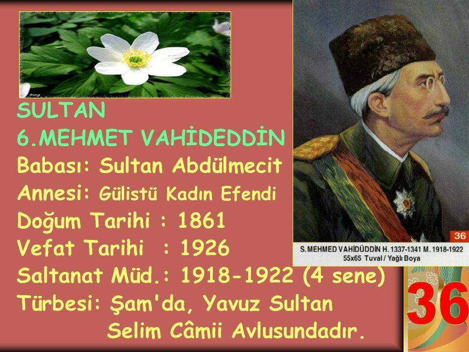 SULTAN 5. MEHMET REŞAT HAN Babası: Sultan Abdülmecit Annesi: Gülcemal Kadın Efendi Doğum Tarihi : 1844 Vefat Tarihi : 1918 Saltanat Müd.: 1909-1918 (9